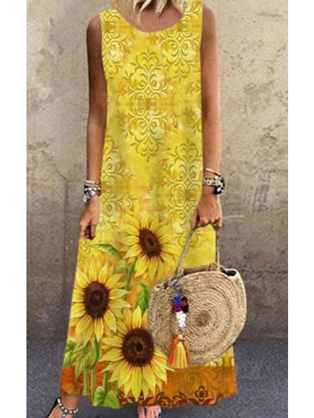 Women's A Line Dress Maxi long Dress Yellow Sleeveless Floral Print Spring Summer Round Neck Casual Loose 2021 S M L XL XXL 3XL 4XL 5XL