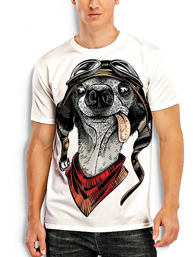 Erkek Tişörtler T gömlek 3D Baskı Köpek Grafik Baskılar Hayvan Desen Kısa Kollu Günlük Üstler Temel Günlük Beyaz