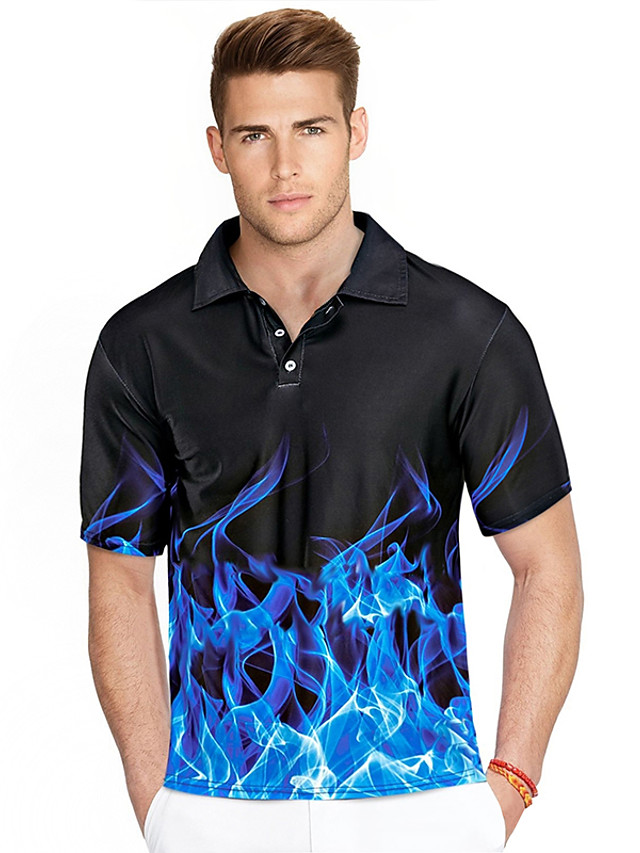 Men's Golf Shirt 3D Print Graphic 3D Plus Size Short Sleeve Daily Slim Tops Streetwear Exaggerated Shirt Collar Blue Purple Red