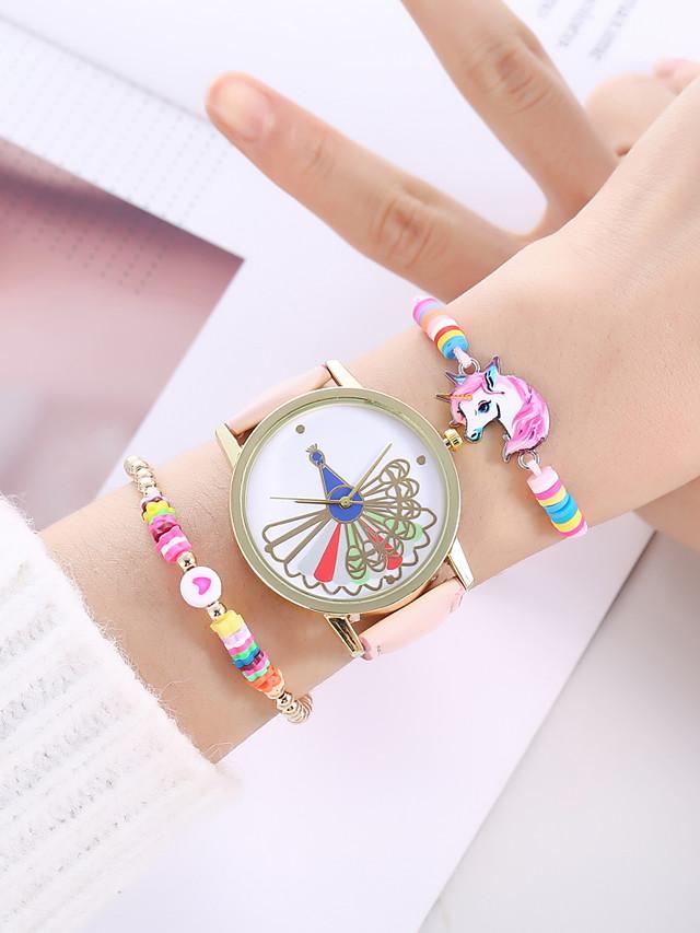Girls' Quartz Watches Analog Quartz Stylish Minimalist Creative Large Dial / PU Leather