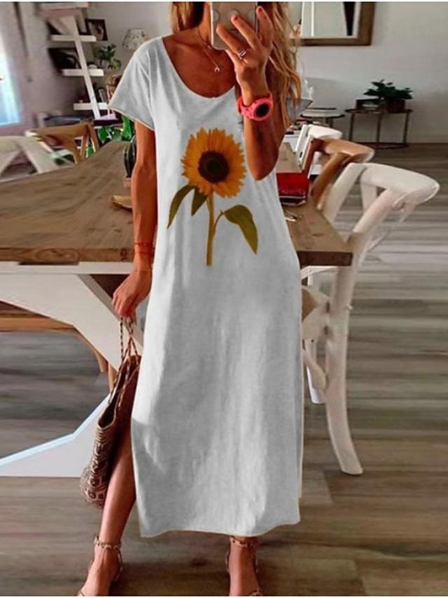 Kadın's Haljina A kroja Maks haljina Sarı Beyaz Siyah Kısa Kollu Çiçekli Bölünmüş Bahar Yaz Yuvarlak Yaka Günlük Salaş 2021 S M L XL XXL 3XL 4XL 5XL