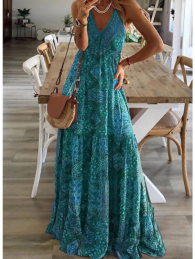 Women's Strap Dress Maxi long Dress Fuchsia Green Red Sleeveless Print Print Summer V Neck Elegant Sexy 2021 S M L XL XXL