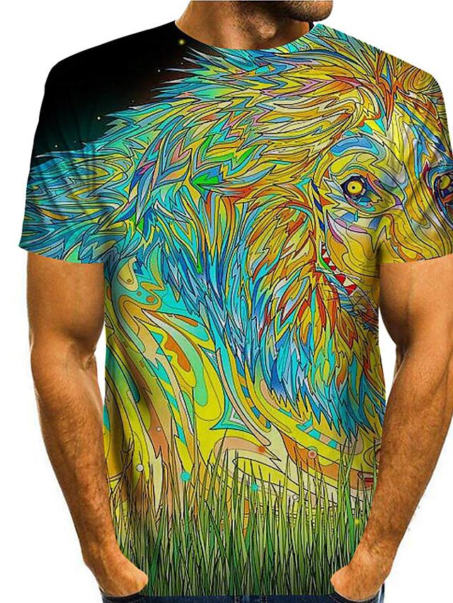 Ανδρικά Μπλουζάκι 3D εκτύπωση Γραφικά Σχέδια Ζώο 3D Στάμπα Κοντομάνικο Καθημερινά Άριστος Βασικό Καθημερινό Ουράνιο Τόξο
