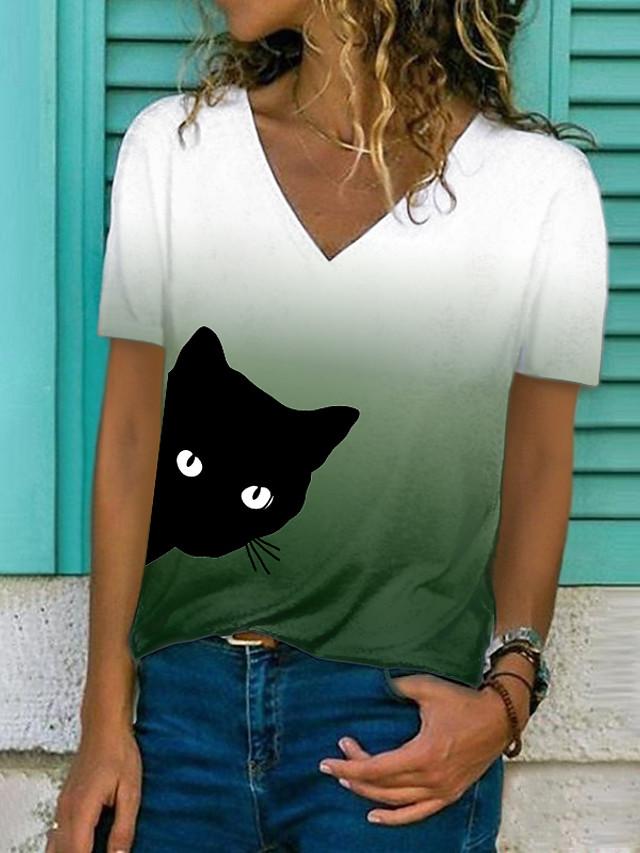 Women's 3D Cat T shirt Color Gradient Cat 3D Print V Neck Basic Tops Purple Orange Green