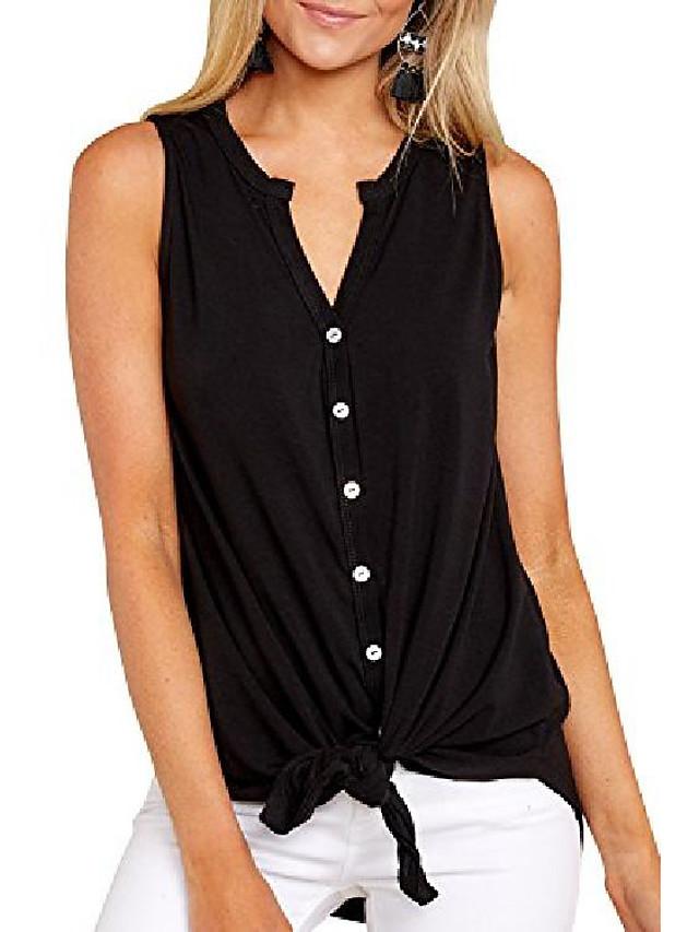 women's sleeveless tie front henley shirts button up tank top black