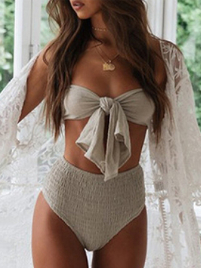 Women's Cover-Up Swimsuit Solid Colored Normal Swimwear Bathing Suits White