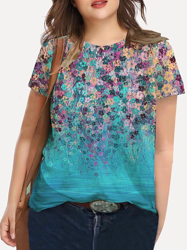Women's Plus Size Tops T shirt Floral Graphic Print Short Sleeve Crewneck Basic Spring Summer Blue Big Size XL XXL 3XL 4XL 5XL