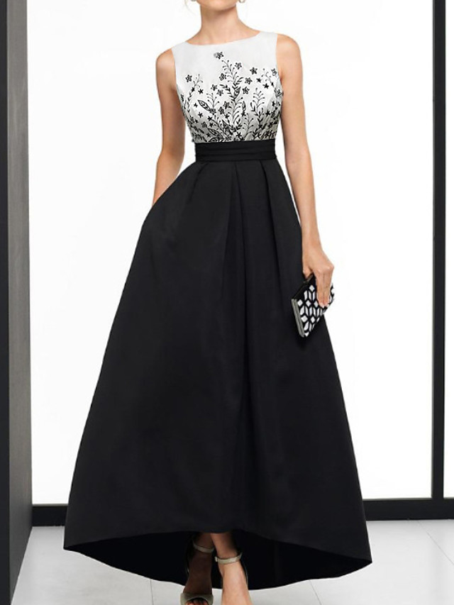 A-Line Beautiful Back Elegant Wedding Guest Formal Evening Dress Boat Neck Sleeveless Asymmetrical Satin with Appliques 2021