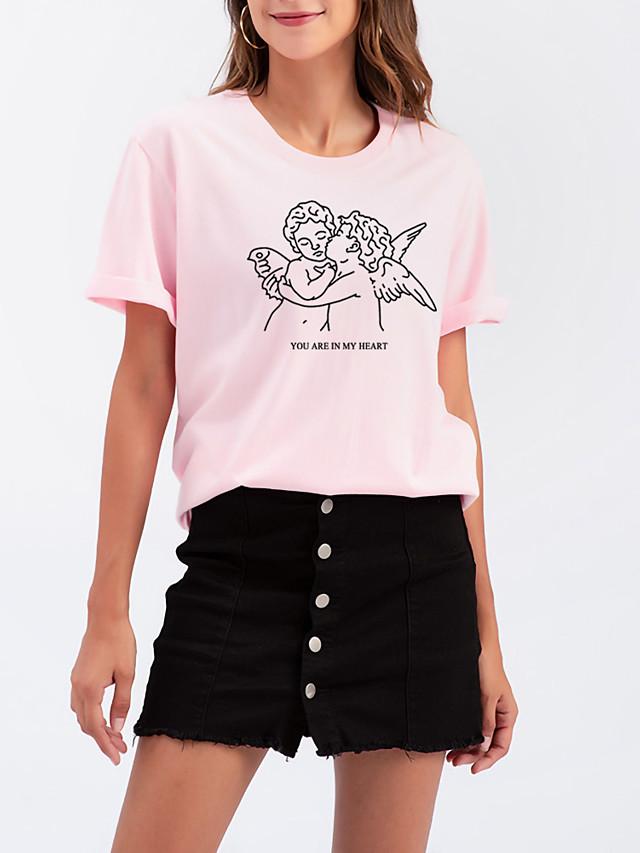 Women's T shirt Graphic Letter Print Round Neck Tops Cotton Basic Basic Top White Black Purple