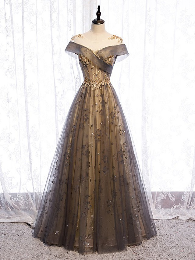 A-Line Elegant Floral Engagement Formal Evening Dress Illusion Neck Short Sleeve Floor Length Tulle with Pleats 2021