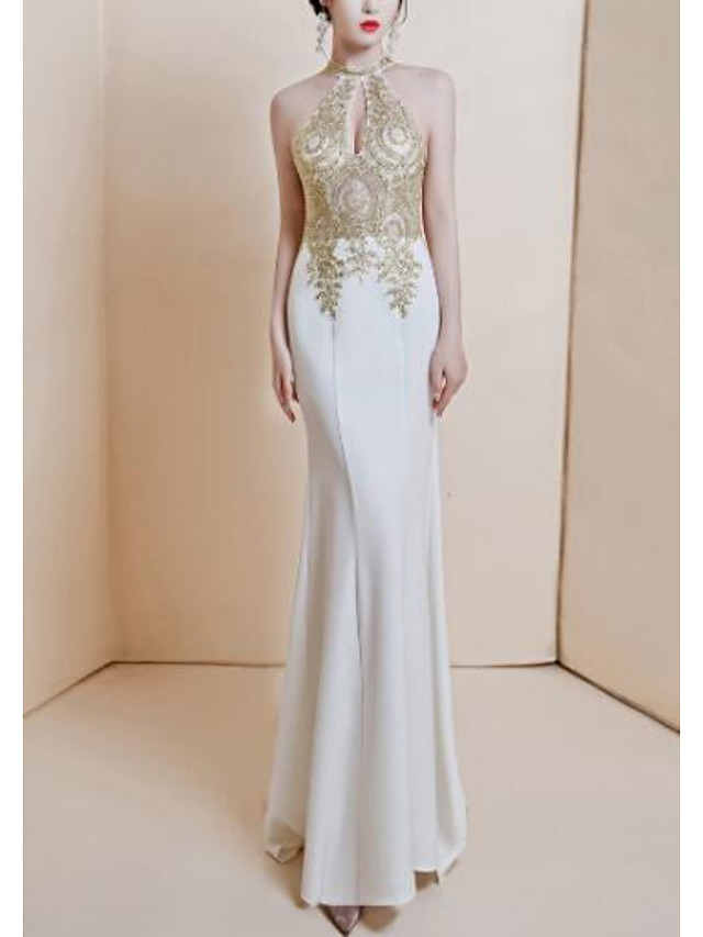 Mermaid / Trumpet Sexy Floral Wedding Guest Formal Evening Dress Halter Neck Sleeveless Sweep / Brush Train Stretch Fabric with Sequin Embroidery 2021