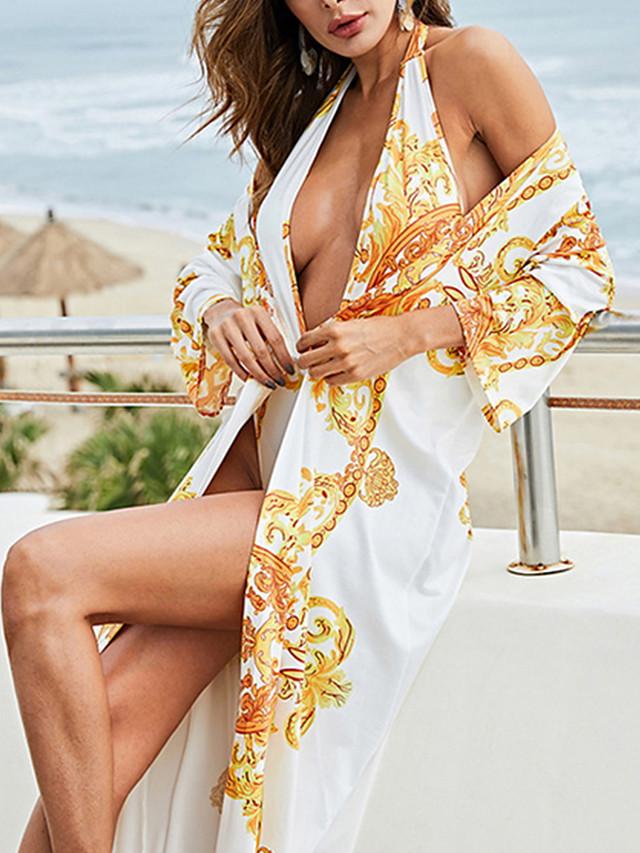 Women's One Piece Tankini Swimsuit Lace up Geometric White Swimwear Bathing Suits