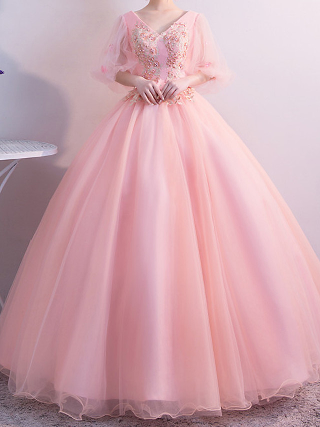 Ball Gown Beautiful Back Floral Quinceanera Prom Dress V Neck Half Sleeve Floor Length Tulle with Pleats Appliques 2021