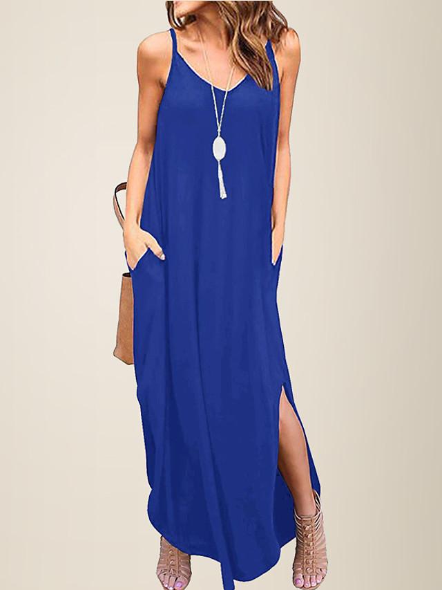 litb 기본 여성 v 넥 느슨한 데일리 드레스 스파게티 스트랩 여름 캐주얼 여성 비치 sundress