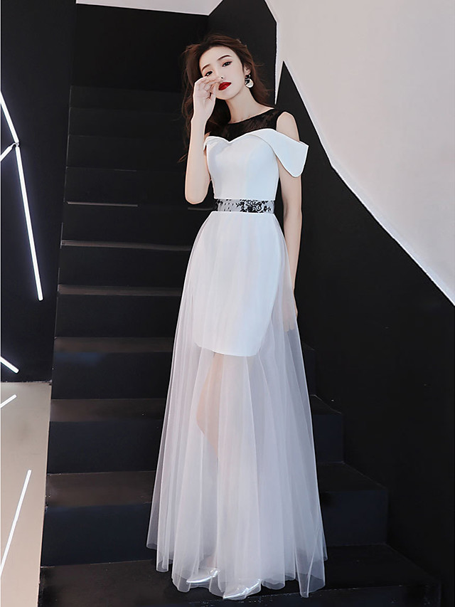 A-Line Color Block Maxi Holiday Wedding Guest Dress Jewel Neck Short Sleeve Floor Length Lace Tulle Stretch Fabric with Lace Insert 2021