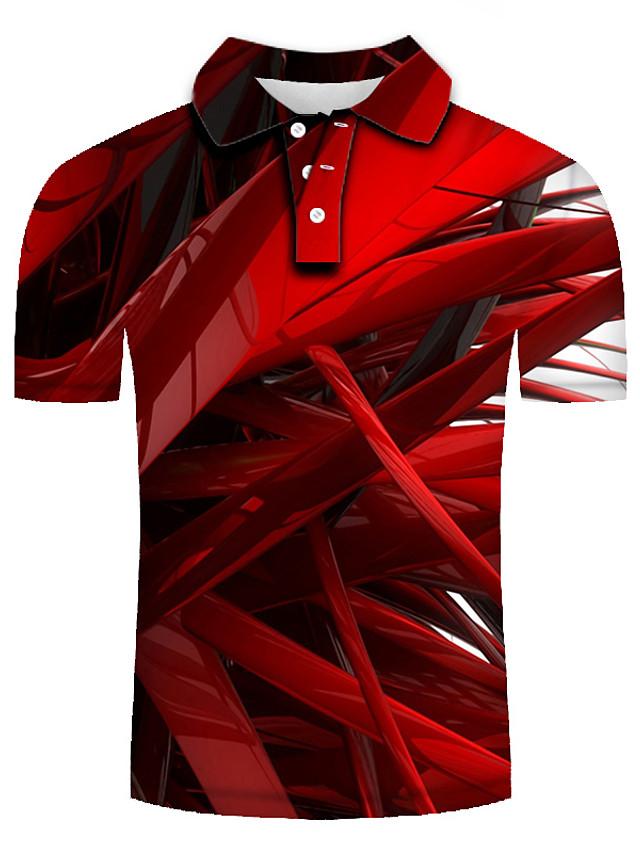 Men's Golf Shirt 3D Print Geometric 3D Print Print Short Sleeve Casual Tops Personalized Casual Fashion Red