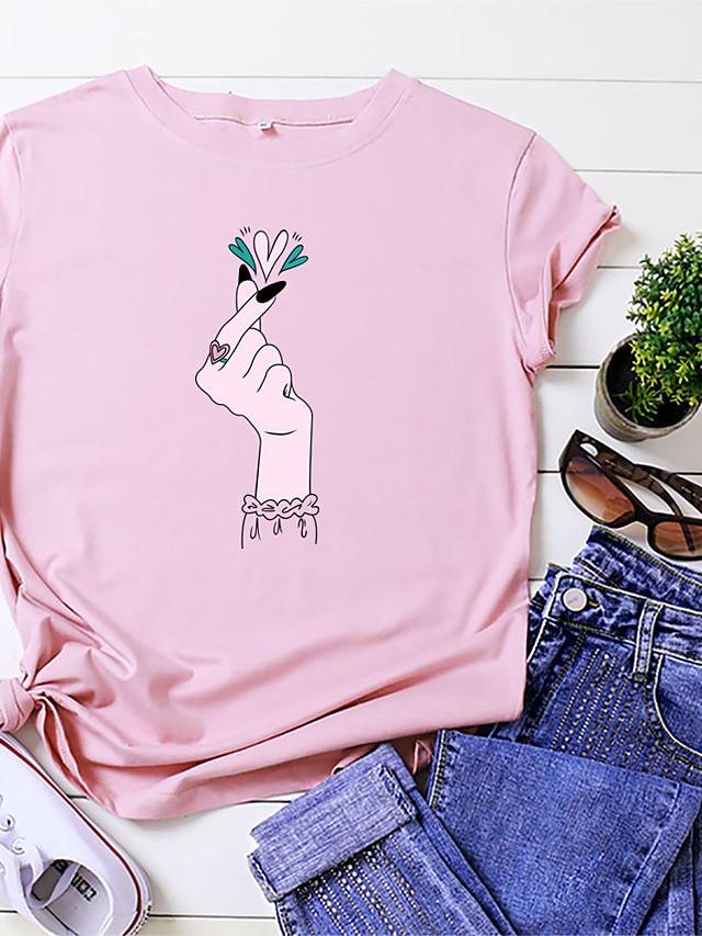 Women's T shirt Heart Print Round Neck Tops 100% Cotton Basic Basic Top White Black Blue