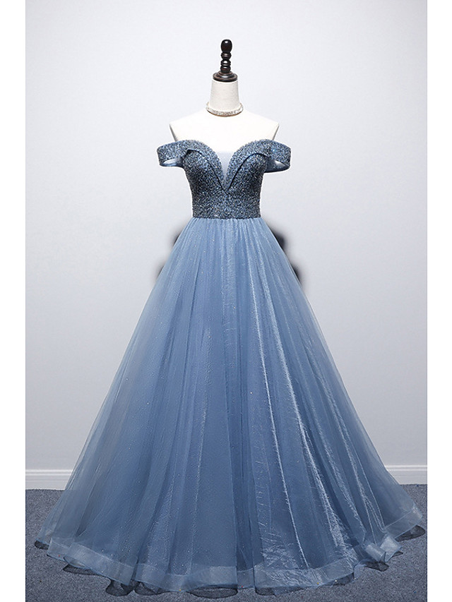A-Line Glittering Sexy Engagement Prom Dress Off Shoulder Short Sleeve Floor Length Tulle with Pleats Beading 2021