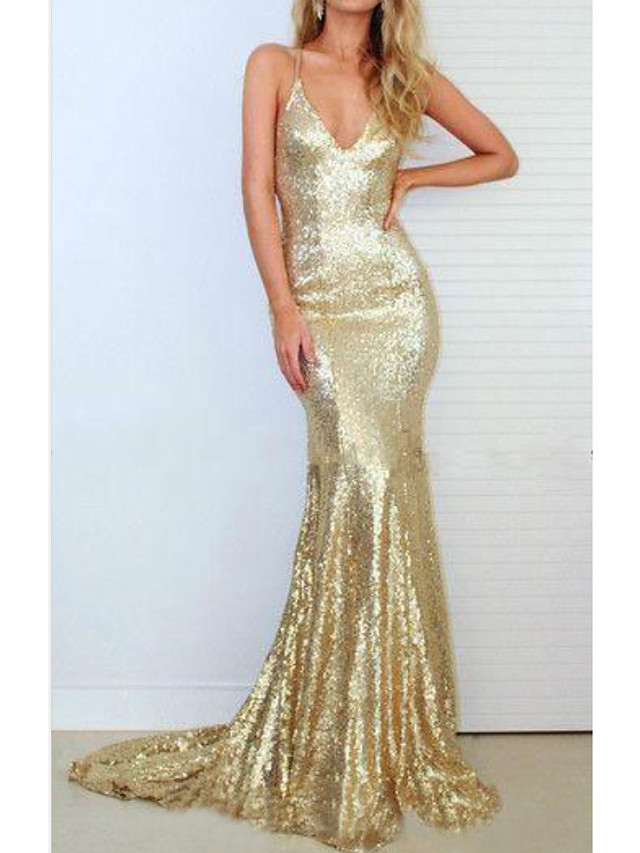 Mermaid / Trumpet Sparkle Sexy Engagement Prom Dress V Neck Sleeveless Sweep / Brush Train Sequined with Sequin 2021