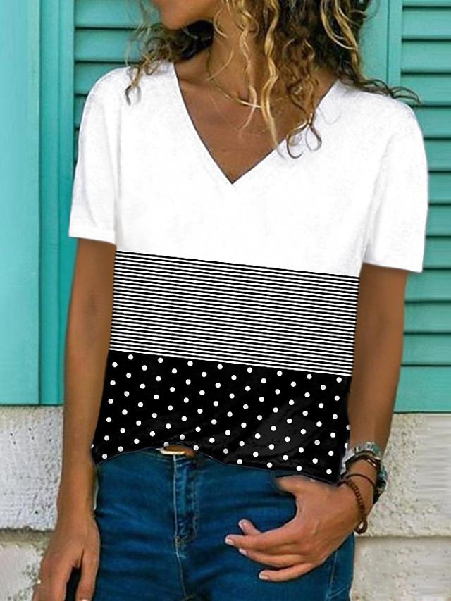 Women's T shirt Polka Dot Striped Color Block Print V Neck Tops Basic Basic Top White