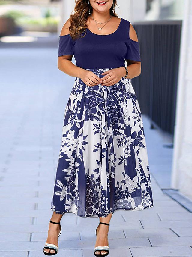 Women's Plus Size Dress A Line Dress Maxi long Dress Short Sleeve Geometric Print Elegant Fall Summer Black Blue Wine L XL XXL 3XL 4XL