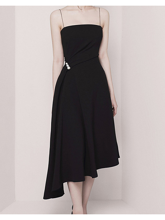 A-Line Empire Minimalist Wedding Guest Cocktail Party Dress Spaghetti Strap Sleeveless Asymmetrical Stretch Fabric with Pearls Draping 2021