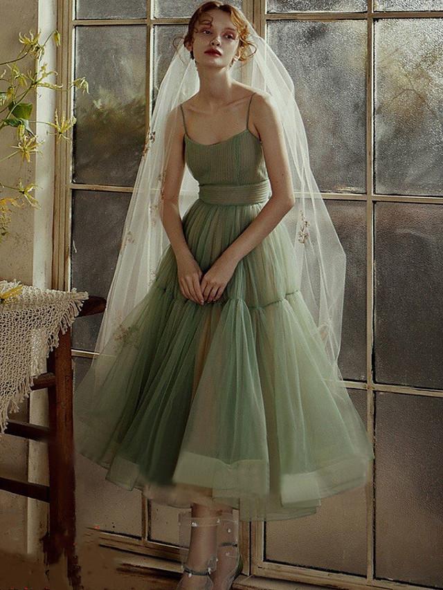 A-Line Minimalist Elegant Wedding Guest Prom Dress Spaghetti Strap Sleeveless Tea Length Tulle with Sash / Ribbon Pleats 2021