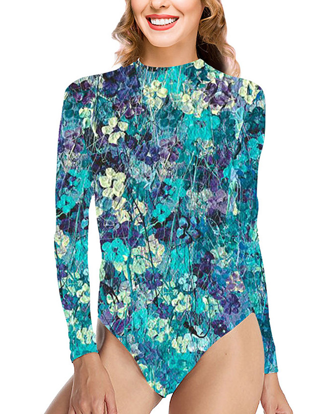 Women's One Piece Swimsuit Tummy Control Print Floral Blue Swimwear Bodysuit High Neck Bathing Suits New Vacation Sexy / Party
