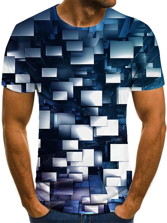 Miesten T-paita 3D-tulostus Geometrinen 3D-tulostus Painettu Lyhythihainen Kausaliteetti Topit Vapaa-aika Muoti Mustavalkoinen