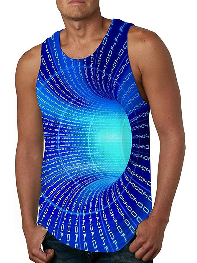 בגדי ריקוד גברים עליונית טנק אֵפוֹד גופיה הדפסת תלת מימד 3D הדפסת תלת מימד דפוס ללא שרוולים יומי צמרות יום יומי סגנונות חוף פול