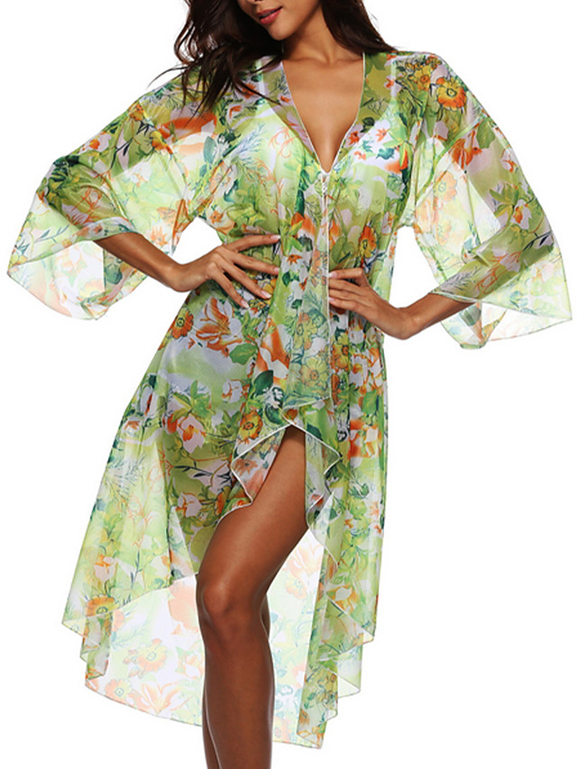 Women's Cover Up Swimsuit Floral Green Swimwear Bathing Suits