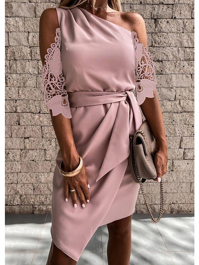 Women's Sheath Dress Knee Length Dress Blushing Pink Black Gray Half Sleeve Solid Color Lace Patchwork Spring Summer cold shoulder Elegant Casual 2021 S M L XL 3XL
