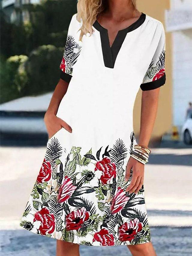 2021 europe and america amazon aliexpress new v-neck short-sleeved retro printed dress women's elegant lady dress