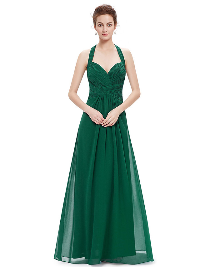 A-Line Beautiful Back Sexy Wedding Guest Formal Evening Dress Halter Neck Sleeveless Floor Length Chiffon with Sleek 2021