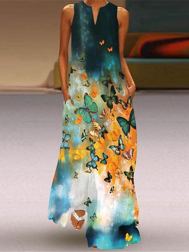 Women's A Line Dress Maxi long Dress Sleeveless Butterfly Flower Summer V Neck Casual 2021 S M L XL XXL XXXL 4XL 5XL