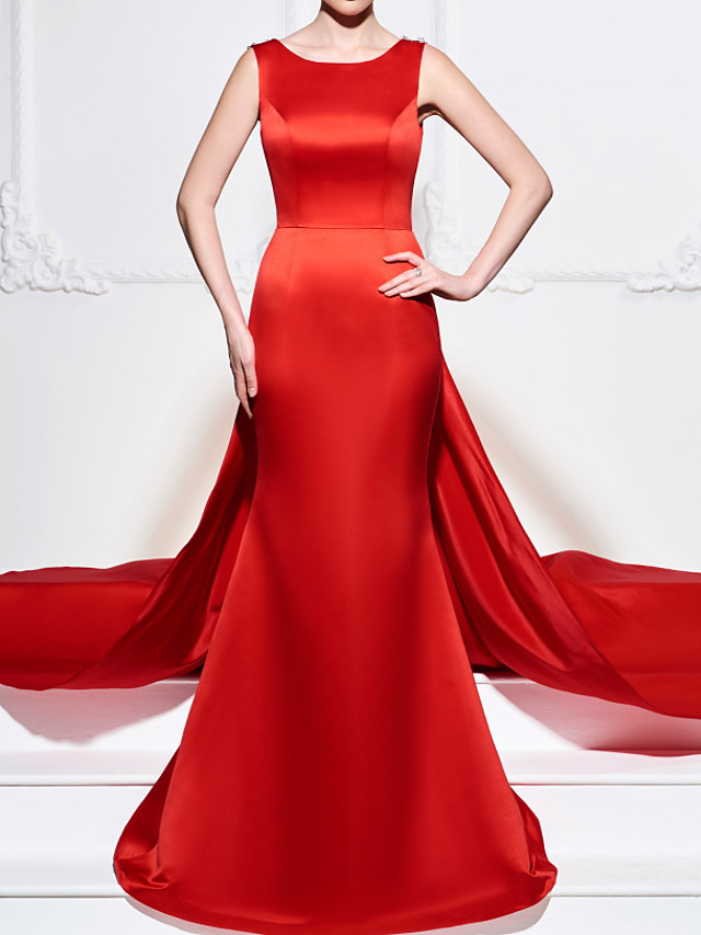 A-Line Beautiful Back Sexy Engagement Formal Evening Dress Boat Neck Sleeveless Court Train Satin with Appliques 2021