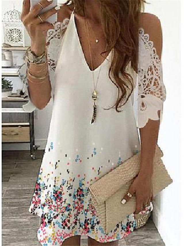 Women's Loose Short Mini Dress Short Sleeve Print Cold Shoulder Summer V Neck Casual 2021 S M L XL XXL 3XL 4XL 5XL