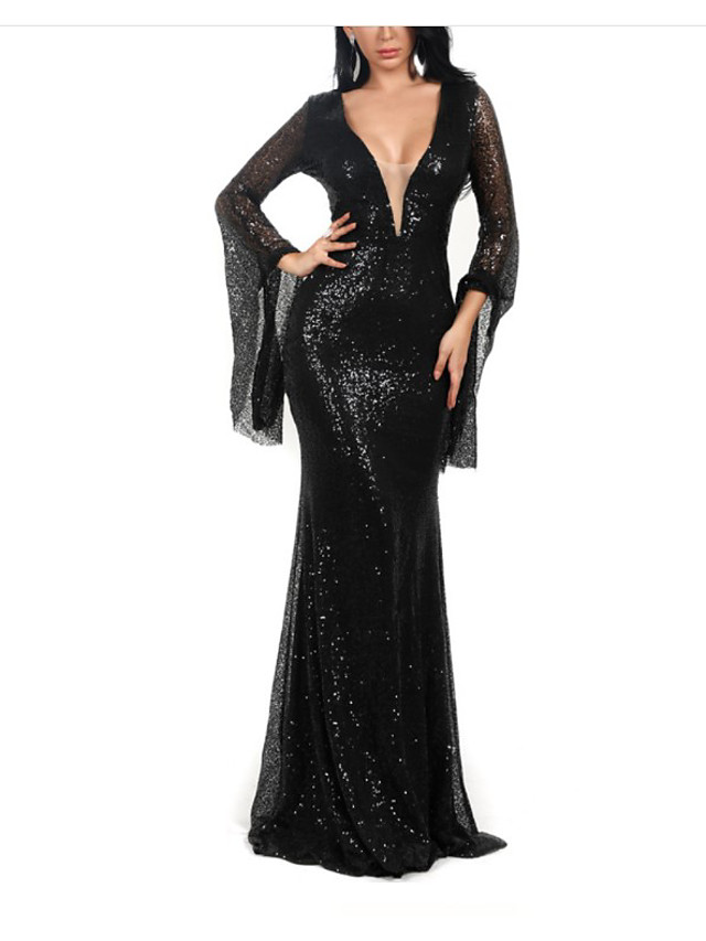 Mermaid / Trumpet Sparkle Sexy Wedding Guest Formal Evening Dress V Neck Long Sleeve Sweep / Brush Train Spandex with Sequin 2021