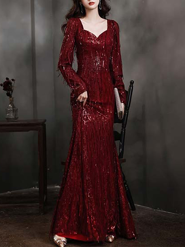 Mermaid / Trumpet Sparkle Sexy Wedding Guest Formal Evening Dress Scoop Neck Long Sleeve Floor Length Sequined with Tassel 2021