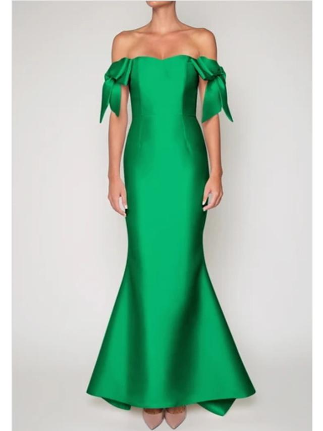 Mermaid / Trumpet Elegant Vintage Engagement Formal Evening Dress Off Shoulder Sleeveless Sweep / Brush Train Satin with Sleek Bow(s) 2021
