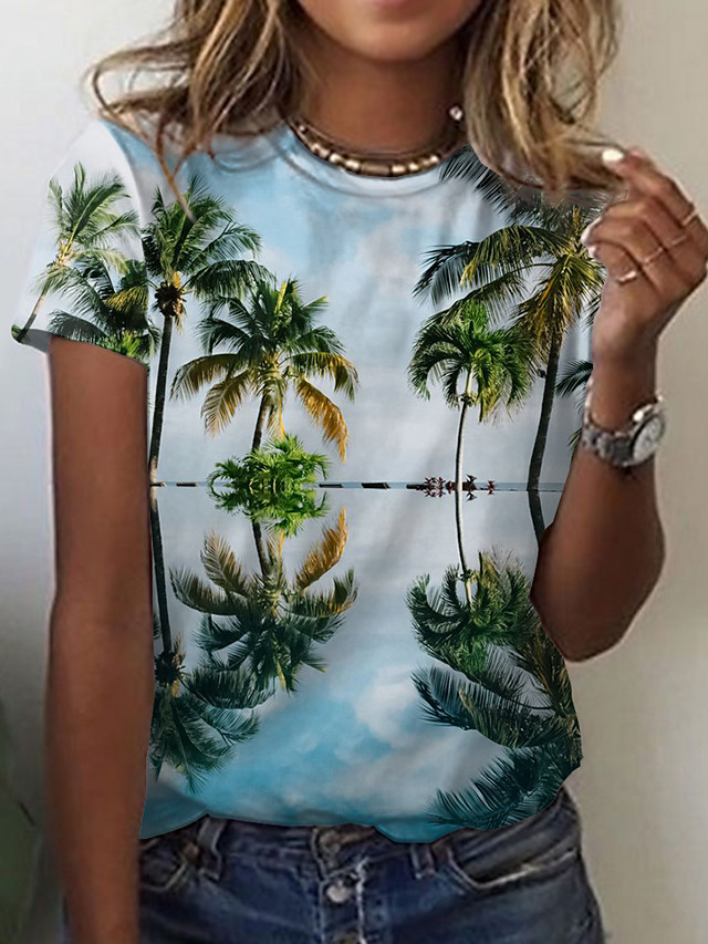 Women's Holiday Floral Theme 3D Printed Painting T shirt Graphic Scenery Print Round Neck Basic Tops Green
