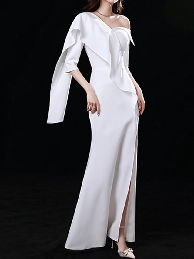 Mermaid / Trumpet Minimalist Elegant Wedding Guest Formal Evening Dress One Shoulder Half Sleeve Floor Length Stretch Fabric with Ruffles Split 2021