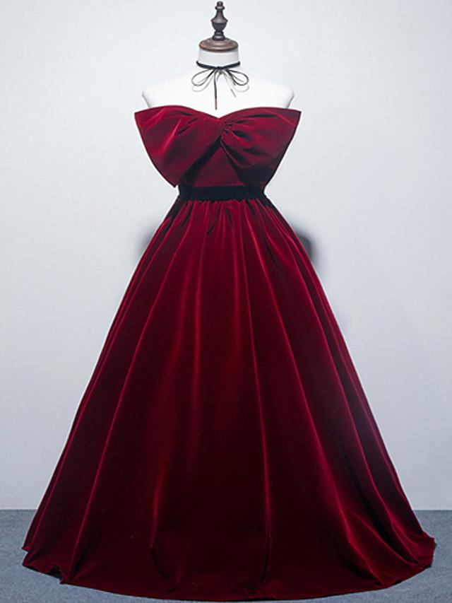 Ball Gown Elegant Vintage Engagement Formal Evening Dress Strapless Sleeveless Floor Length Velvet with Bow(s) 2021