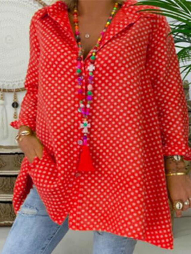 Women's Plus Size Tops Blouse Shirt Polka Dot Button Long Sleeve Shirt Collar Fashion Spring Summer Blue Red Yellow Big Size L XL 2XL 3XL 4XL 5XL
