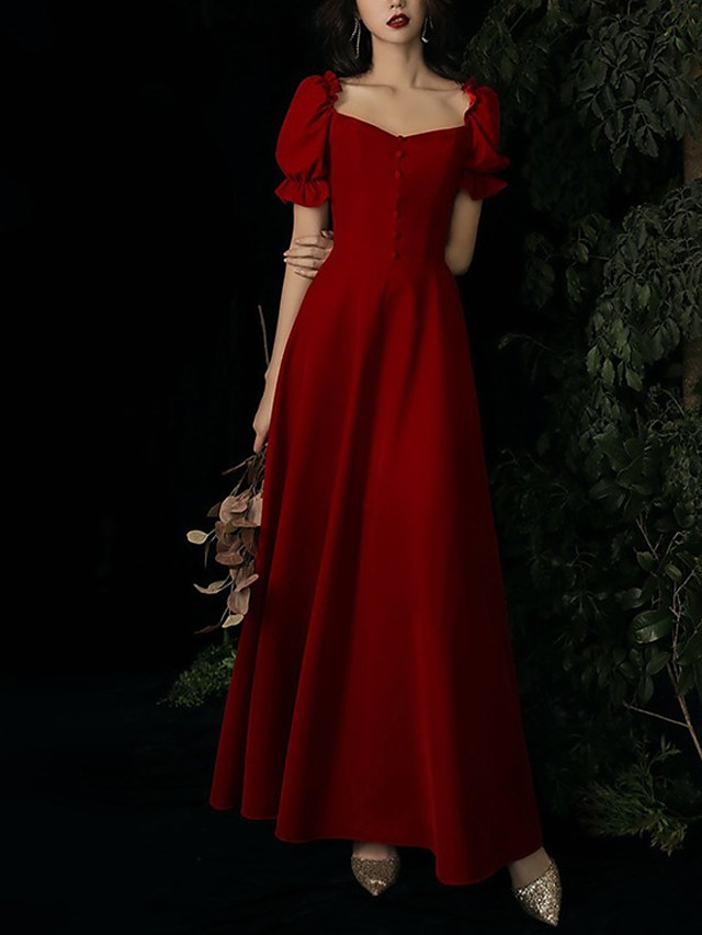 A-Line Elegant Vintage Wedding Guest Formal Evening Dress Scoop Neck Short Sleeve Ankle Length Satin with Buttons 2021
