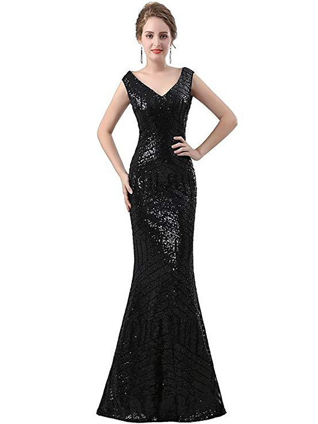 Mermaid / Trumpet Glittering Sexy Wedding Guest Prom Dress V Neck Sleeveless Floor Length Sequined with Sequin 2021