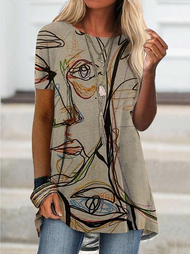 Women's T Shirt Dress Tee Dress Short Mini Dress Short Sleeve Abstract Print Spring Summer Round Neck Chic & Modern Casual / Daily Loose 2021 S M L XL XXL XXXL