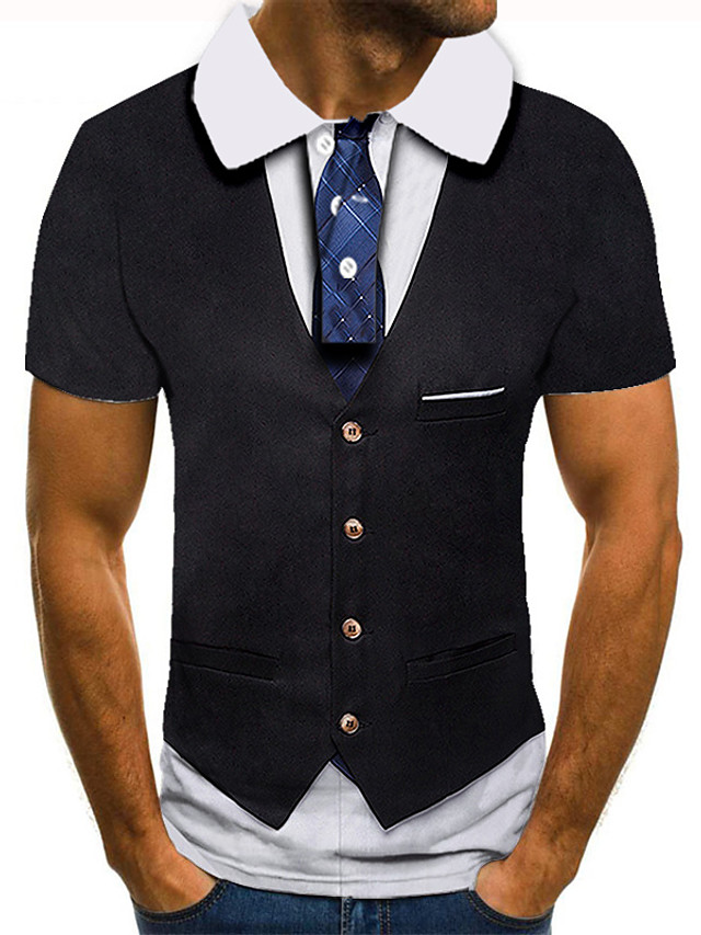 Men's Golf Shirt 3D Print 3D Graphic Prints Button-Down Short Sleeve Street Tops Casual Fashion Cool Black / Sports