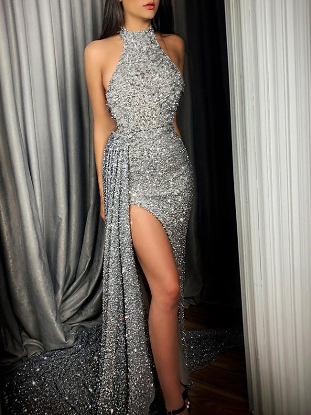Mermaid / Trumpet Glittering Sexy Engagement Formal Evening Dress Halter Neck Sleeveless Court Train Sequined with Sequin Split 2021