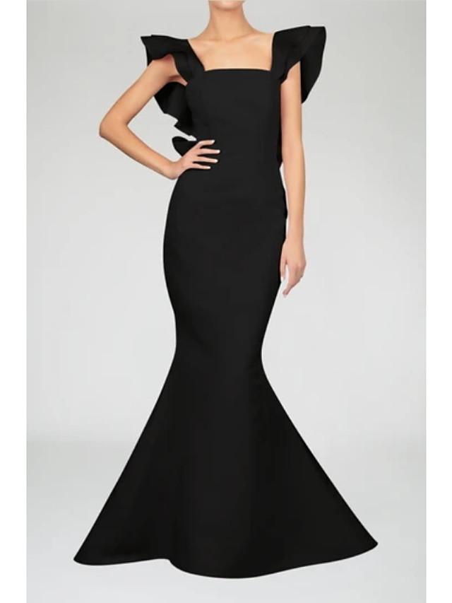 Mermaid / Trumpet Minimalist Vintage Engagement Formal Evening Dress Scoop Neck Sleeveless Floor Length Satin with Sleek Bow(s) Ruffles 2021